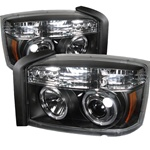 Dodge Dakota 05-07 Halo LED Projector Headlights - Black