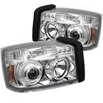 Dodge Dakota 05-07 Halo LED Projector Headlights - Chrome