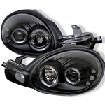 Dodge Neon 00-02 Halo LED Projector Headlights - Black
