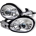 Dodge Neon 00-02 Halo LED Projector Headlights - Chrome