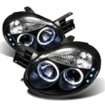Dodge Neon 03-05 Halo LED Projector Headlights - Black