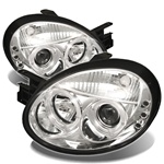 Dodge Neon 03-05 Halo LED Projector Headlights - Chrome