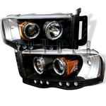 Dodge Ram 02-05 Halo LED Projector Headlights - Black