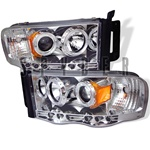 Dodge Ram 02-05 Halo LED Projector Headlights - Chrome