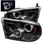 Dodge Ram 1500 09-10 Halo LED Projector Headlights - Black