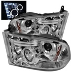 Dodge Ram 1500 09-10 Halo LED Projector Headlights - Chrome