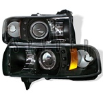 Dodge Ram 94-01 1PC Halo LED Projector Headlights - Black