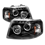 Ford Expedition 03-06 Halo LED Projector Headlights - Black