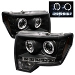 Ford F150 09-10 Halo LED Projector Headlights - Black