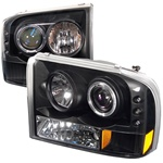 Ford F250 99-04 1PC Halo LED Projector Headlights - Black