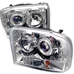 1999-2004 Ford F250 / F350 Super Duty Pickup / 2000-2004 Ford Excursion 1 Piece Chrome Housing Dual Halo Angel Eyes Projector Headlights