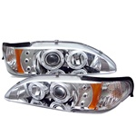Ford Mustang 94-98 1PC Halo LED Projector Headlights - Chrome