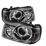 Ford Ranger 01-08 1PC Halo Projector Headlights - Chrome