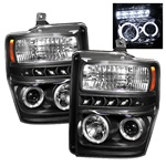 Ford F250 / F350 / Superduty 08-10 Halo LED Projector Headlights - Black