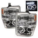 Ford F250 / F350 / Superduty 08-10 Halo LED Projector Headlights - Chrome