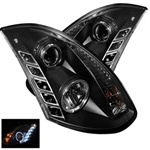 Infiniti G35 2DR 03-07 DRL LED Projector Headlights - Black