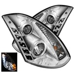 Infiniti G35 2DR 03-07 DRL LED Projector Headlights - Chrome