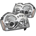 Jeep Grand Cherokee 05-07 Halo LED Projector Headlights - Chrome