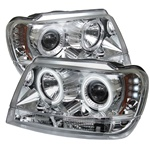 Jeep Grand Cherokee 99-04 CCFL LED Projector Headlights - Chrome
