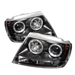 Jeep Grand Cherokee 99-04 Halo LED Projector Headlights - Black