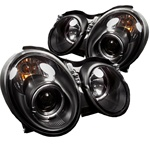 Mercedes Benz CLK 98-02 Halo Projector Headlights - Black