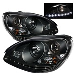 Mercedes Benz W220 S-Class 00-06 DRL LED Projector Headlights - Black