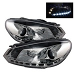 Volkswagen Golf / GTI 2010 up DRL Projector Headlights - Chrome