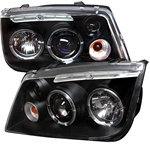 Volkswagen Jetta 99-04 Halo LED Projector Headlights - Black