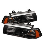 BMW E36 92-98 2DR 1PC DRL LED Projector Headlights - Black