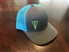 Grey and Neon Blue Mesh Snapback