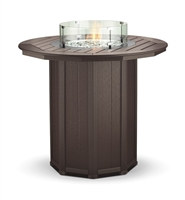 "51"" Round Framed Bar Height Fire Table with 4 Swivel Stools"