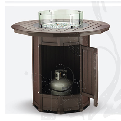 "51"" Round Framed Bar Height Fire Table with 4 Swivel-Flex Chairs"