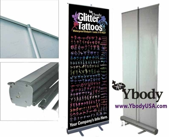 glitter tattoo display poster and stencilsYbody Glitter Tattoos Roll up Display banner for glitter tattoos, Body Art Colorini  Airbrush Tattoos, Temporary Tattoos, henna body art, body ink , glimmer tattoos