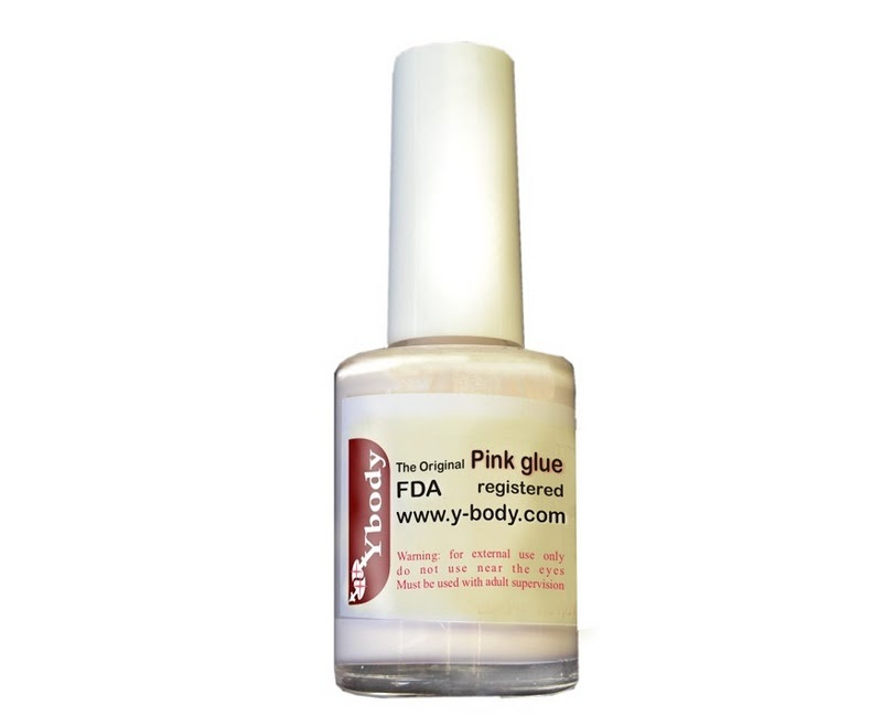 15 ml pink body glue with brush for glitter tattoos