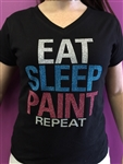 EAT SLEEP PAINT REPEAT Artist T-shirts, glittery shirts, shimmer