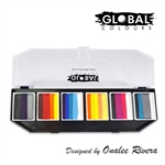 Global fun strokes face paint palette created by the artist Onalee Rivera for superhero color combinations