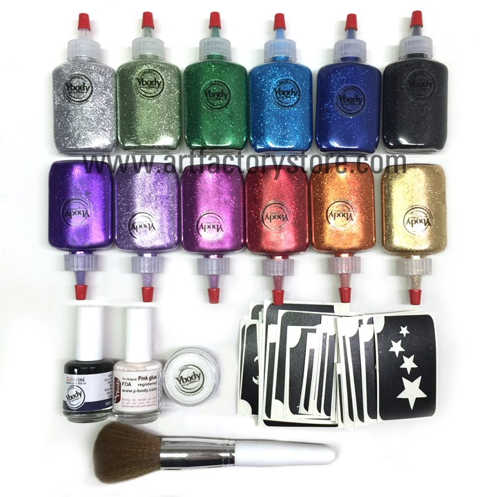 Ybody Pro Kit Metallic Glitter Poof Bottles Amp 100 Stencil Set