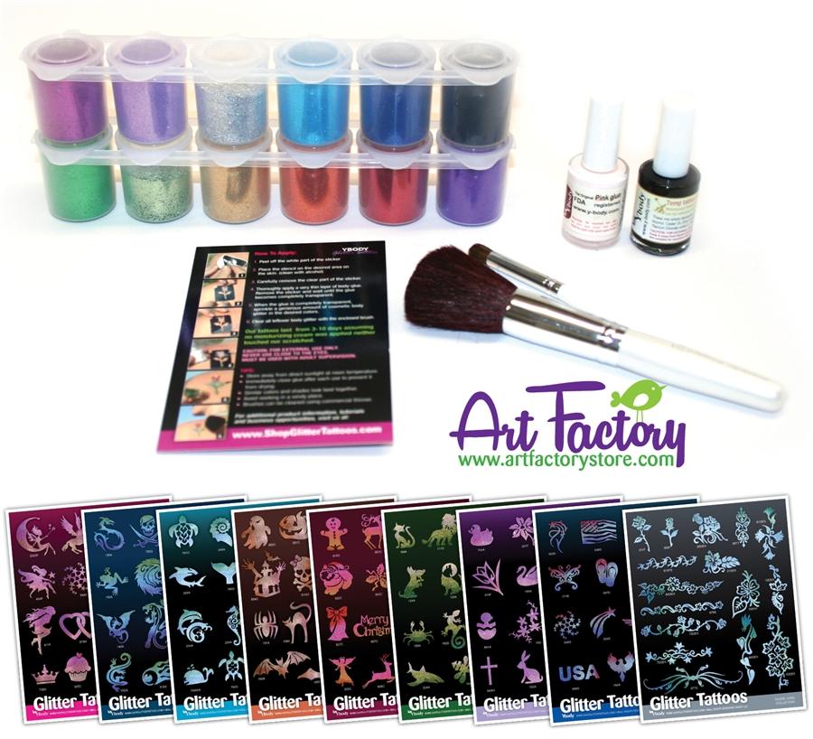 Glitter tattoo kit glimmer tattoo henna tattoos for Airbrush tattoo kit
