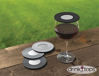 Ventilated Wine Glass Covers (4-Pk) -  Black/Gray