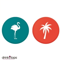 Wine Glass Covers (2-Pk) - Flamingo/Palm Tree