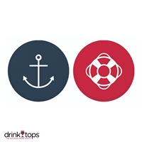 Wine Glass Covers (2-Pk) - Anchor/Life Raft