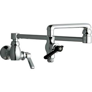 Chicago Faucets - 515-ABCP - Pot & Kettle Filler Faucet features an 18-inch double swing spout with heat resistant front lever for quick shut-off. The 515-ABCP is a commercial pot filler faucet and has a solid brass body with chrome plated finish.
