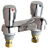 Chicago Faucets - 802-V665CP Vandal Resistant 4-inch Center Self Closing Push Button Lavatory Faucet