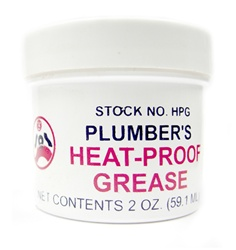 Plumber's heat proof grease does not melt like ordinary grease. This grease comes in a 2 oz. container, lubricates valves, ballcocks, stems of valves, etc. Plumber's grease make hard to turn faucets work smoothly. Perfect for use on steam or hot water