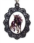 BLACK UNICORN PORCELAIN CAMEO NECKLACE