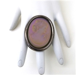 IMPERIAL SPANISH LAVENDER GLASS LADY CAMEO RING