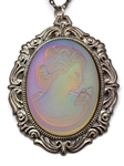 IMPERIAL SPANISH LAVENDER GLASS LADY CAMEO NECKLACE