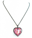 HEART THROB PINK PUFF HEART NECKLACE