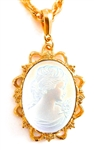 IMPERIAL OPAL GLASS LADY CAMEO NECKLACE