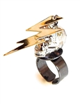 DEVILS ARROW GGOLD DUST SKULL & CHARM RING